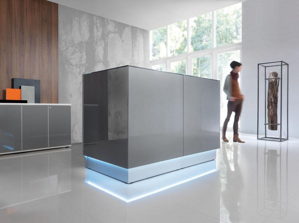 empfangstheken hochglanz personalisierte theken cube