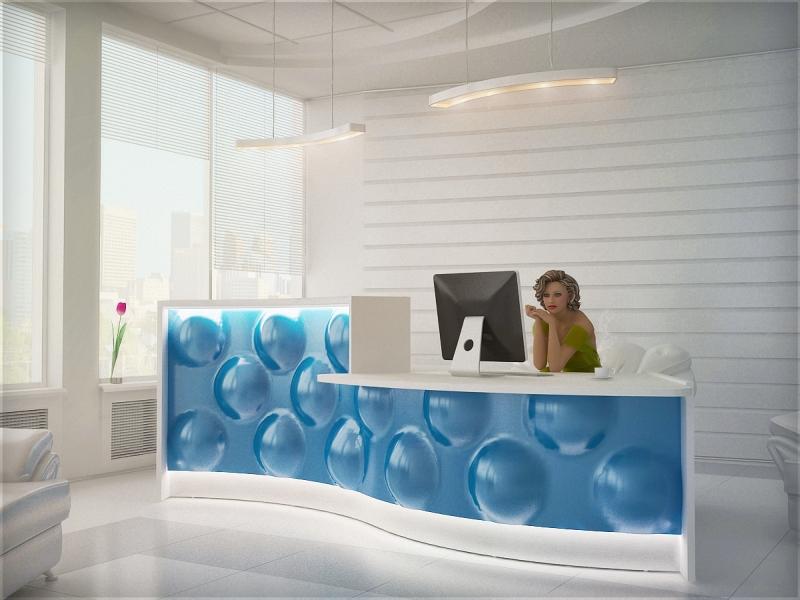 empfangstheken hochglanz stock design pearl blau