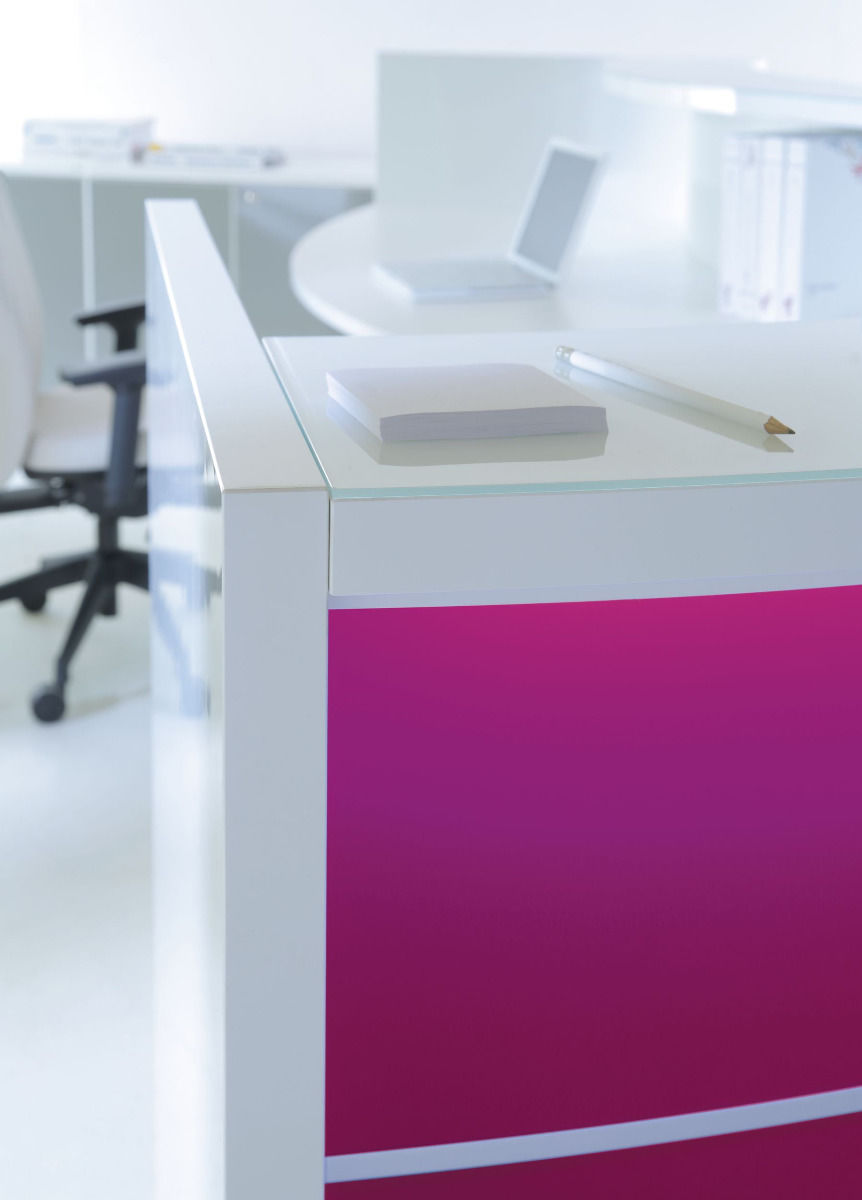 empfangstheken guenstig empfangstresen hochglanz pink details