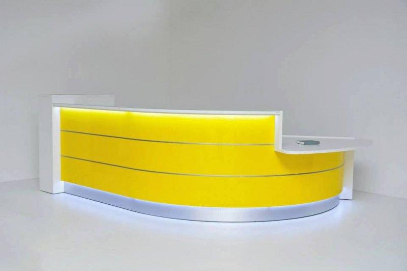 empfangstheken hochglanz gelbe empfangstheke rund