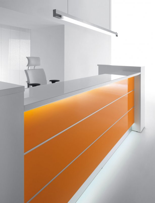 empfangstheken hochglanz stock design gerade theken orange