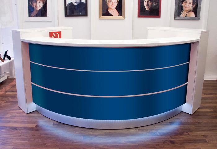 empfangstheken hochglanz stock design runde theken blau