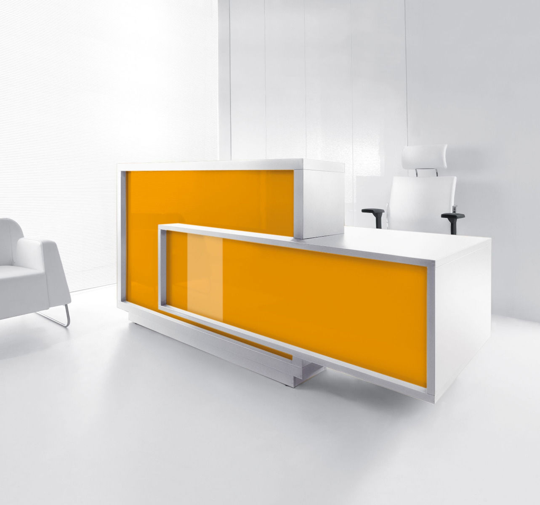 empfangstheken kosmetik ladentheke nagelstudio hochglanz orange front
